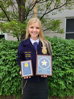 Abby Shuck, a 2021 Meyersdale Area High School graduate, was presented with the State Proficiency award in goat production at the PA FFA State Convention on June 11 at Tyrone Area High School. Her application will go on to compete at the national level. Agricultural Proficiency Awards honor FFA members who, through supervised agricultural experiences, have developed specialized skills that they can apply toward their future careers.