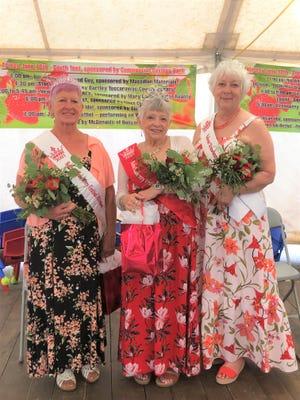 Loretta Diveley, left,  2021 Strawberry Queen Brenda Symons and Karen Addington made up the court at the Strawberry Festival.