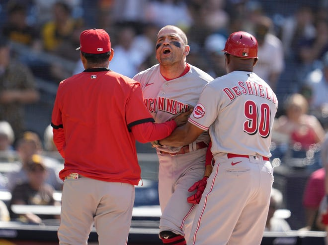 The Reds' Joey Votto argues a called third strike during the first inning against the Padres at Petco Park on Saturday.