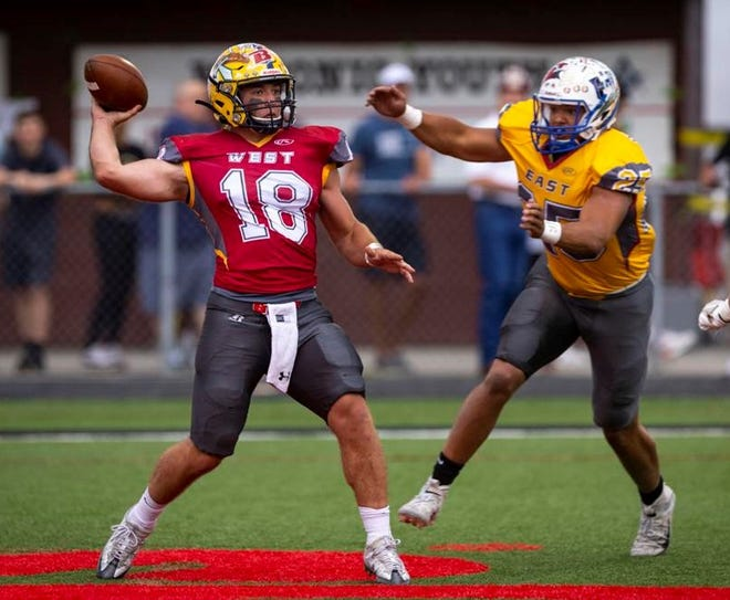 Missoula Big Sky's Colter Janacaro (18), playing for the West, passes while under pressure from Havre's Kellen Detrick (25), playing for the East, during the East-West Shrine Game at Wendy's Field at Daylis Stadium in Billings on Saturday.