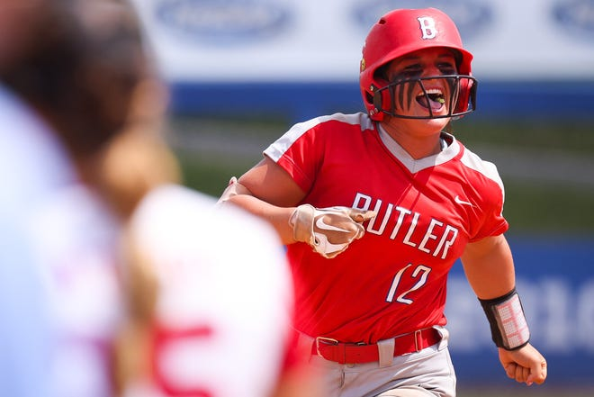 Butler's Kyndal Tinnell (12) rounds the bases after hitting a grand slam during the Butler vs. Daviess County KHSAA State Softballball Tournament championship game on Sunday, June 20, 2021, at John Cropp Stadium in Lexington, Kentucky. Butler won 13-2.