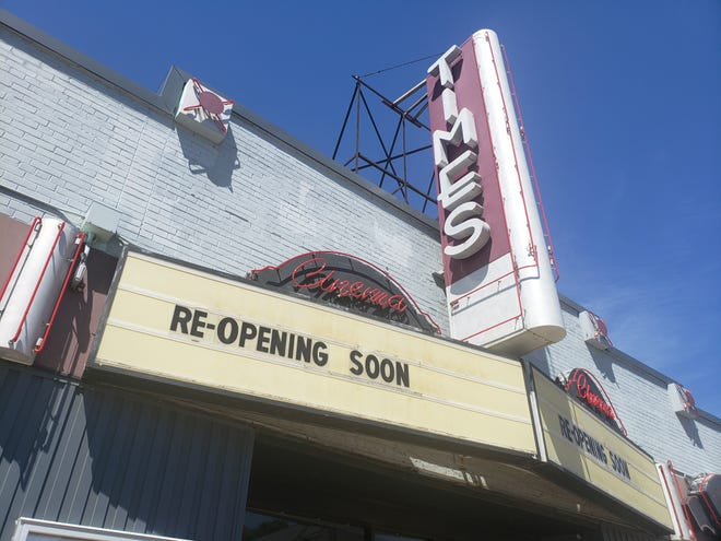 The marquee of the Times Cinema gives the theater's Washington Heights neighborhood the news on June 20, 2021. The theater, at 5901 W. Vliet St., has been closed since March 2020, when movie theaters across Wisconsin closed because of the COVID-19 pandemic.