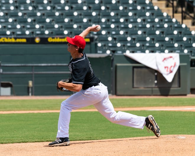 Christian Okerholm of Vandegrift pitches for the South during the North's 3-2 win at the Texas High School Baseball Coaches Association All-Star game for 5A-6A players Sunday at Dell Diamond in Round Rock.