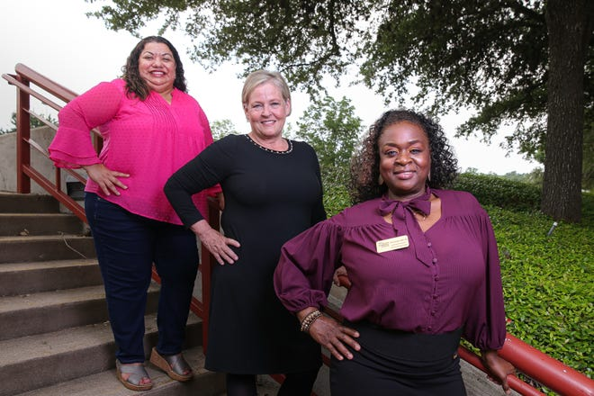 Teresa Garza, from left, Lori Lucas, and Shirlet Oriakhi attended Austin Community College through the Capital Idea program and are now professors at the college.