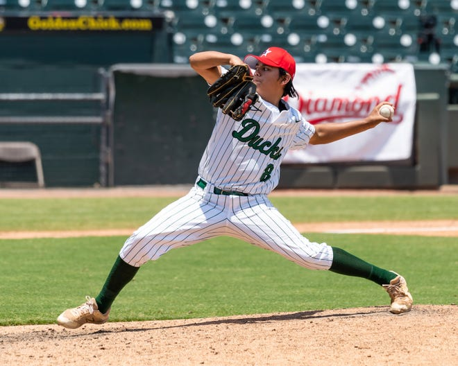 Isaac Rivera from Taylor in action for the South during a 6-3 win over the North in the Texas High School Baseball Coaches Association All-Star game for classes 2A-4A players at Dell Diamond in Round Rock on Saturday.