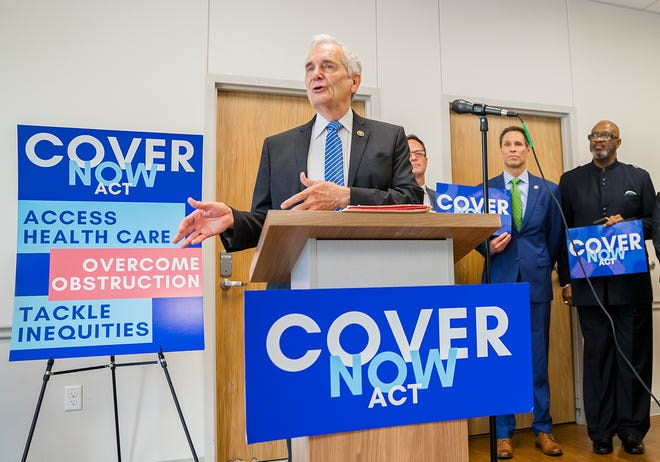 U.S. Rep. Lloyd Doggett, D-Austin, speaks Monday at the Community Care Southeast Health and Wellness Center in Southeast Austin about new legislation to allow local governments to pursue Medicaid expansion.