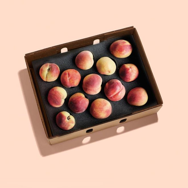 A box of peaches from the Peach Truck.