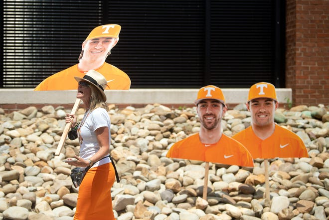 Cardboard cutouts of Tennessee baseball players were provided to fans to use for photos before the start of the Tennessee-LSU super regional game on June 13 at Lindsey Nelson Stadium in Knoxville, Tenn. The third-seeded Volunteers face No. 2 Texas on Tuesday in a College World Series elimination game.