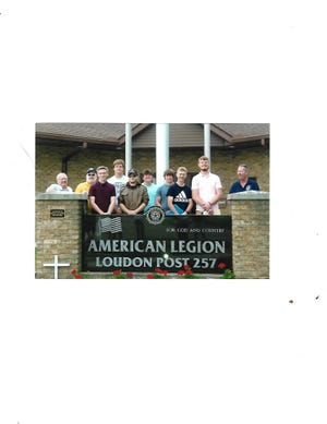 """American Legion Post 257 in Loudonville named seven Loudonville High School incoming seniors as delegates to Buckeye Boys State. Delegates are, third from left and to the right, Nathan Tarleton, Garrett Kick, John Q. Getz, Benjamin Sanchez, Matthew Baumbarger, Ashton Henley and Camden Stanton. They were named by the Boys State Committee, including chair Jim Danner, extreme left, committee member Dave Brown, to the right of Danner, and Tim Conway, far right. Boys State is a series of """"hands-on"""" workshops on the principles and organization of Ohio state government held June 13-20 at Miami University in Oxford, Ohio. Members of the Legion Post and Sons of the American Legion squadron interviewed the candidates."""