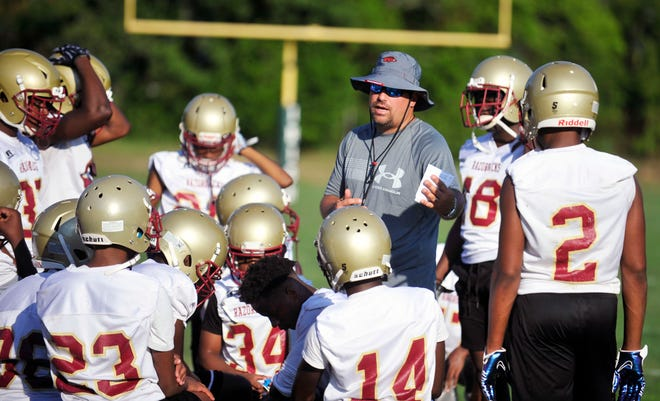 Brian Lewis, with the Cross Creek football team during a 7-on-7 game at Aquinas High School on Thursday, June 17, 2021. Lewis was hired last Tuesday and was an assistant at Richmond Academy and served as the head baseball coach and athletic director. [WYNSTON WILCOX/THE AUGUSTA CHRONICLE]
