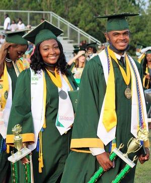 Estill High School Salutatorian Katelyn Rose, at left, and Valedictorian Markeim Smith.