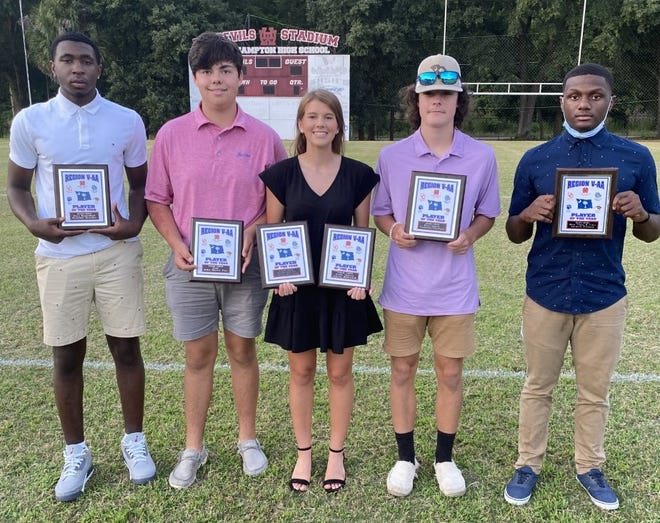 Wade Hampton High  School's 2020-21 Region 5AA Players of the Year (from left): Brandon Brantley (Basketball), John Henry Foy (Golf), Alexis DeLoach (Tennis, Soccer) Cameron Clackum (Soccer), and Kavonte Clemons (Track & Field).