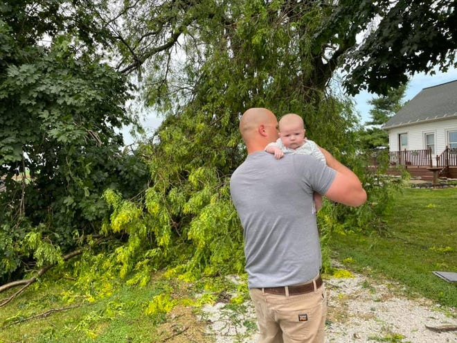 Unfortunately, Demi Leake, said her husband spent his first Father's Day weekend cleaning up damage from the storm.