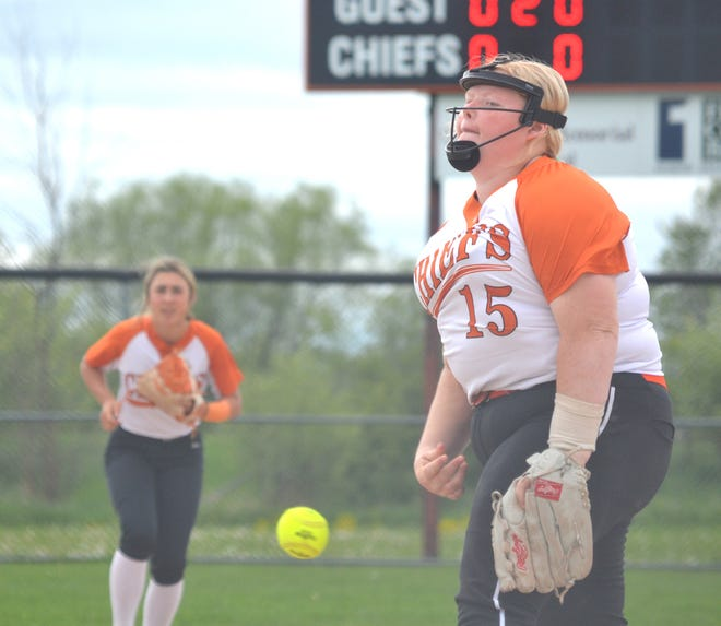 Cheboygan senior pitcher Morgan Brandau (15) most recently earned a spot on the All-Straits Area Conference softball first team. Brandau was joined by fellow senior Jackie Seaman (outfielder) and freshman Libby VanFleet (infielder) as players who made the first team.