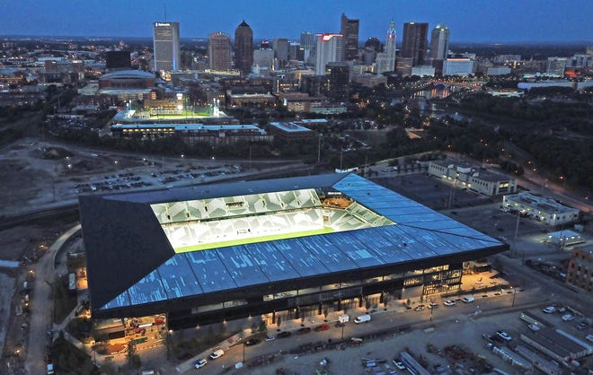 The downtown Columbus Crew stadium under construction on Thursday, June 17, 2021.
