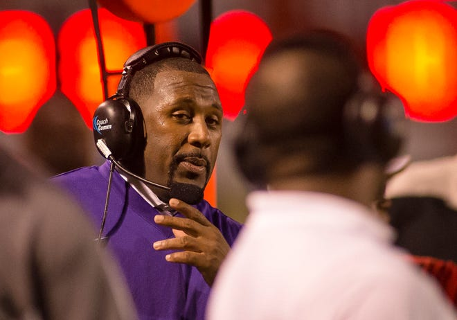 Martez Edwards coaches Bessemer City (Alabama) during a 2016 game against Tuscaloosa Central. Edwards, who coached at East Ridge in 2020, could lose his coaching and teaching positions at the school if members of the Lake County School Board vote to terminate him Monday at the Board's next meeting. [FILE]