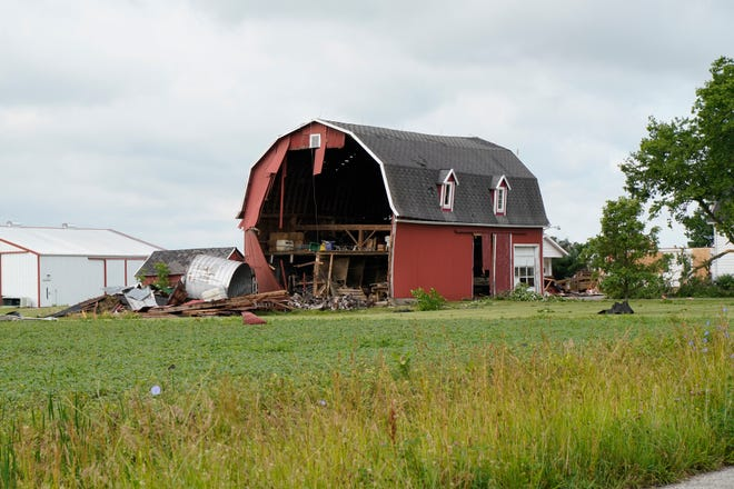 A barn along Cemetery Road, west of Silberhorn Highway and east of Riga Highway, in Riga Township was heavily damaged during thunderstorms this weekend, which raged through Lenawee County. Debris from the barn and the home was scattered throughout the property and into nearby fields.