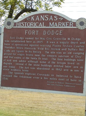 The Kansas Historical sign about Fort Dodge, is located on the west edge of the Fort on Highway 400.