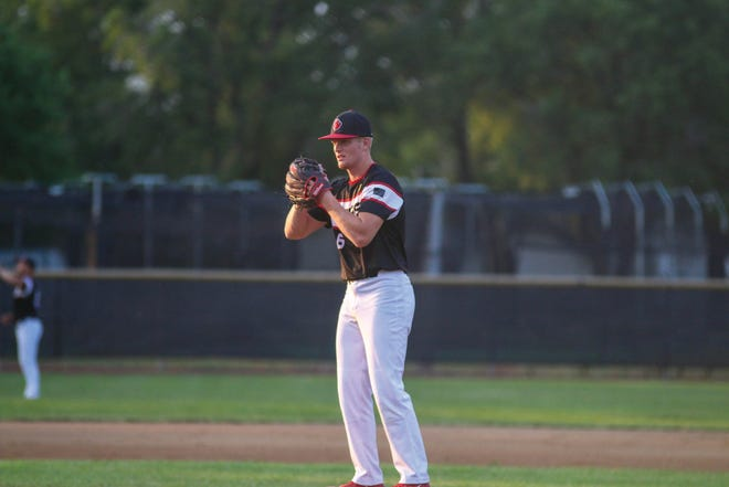 Tate Stine-Smith on the mound for the Tigers during a game against Boone on Wednesday, June 16 in Adel.