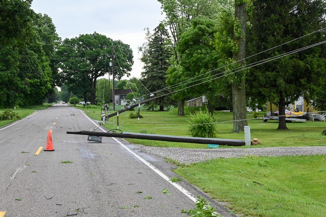 Consumers Energy worked since Sunday evening to repair and replace power lines taken down by a series of heavy thunderstorms Sunday night and early Monday morning.