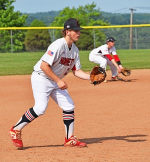 Honesdale's Zach Branning mans the Hot Corner during District Two playoff action. Branning earned a berth on the First Team Lackawanna League All-Stars this spring.