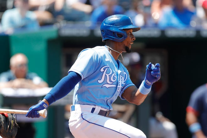 Kansas City Royals' Jarrod Dyson hits a two-run double in the third inning to cap a 10-pitch at-bat during Sunday's game against the Boston Red Sox at Kauffman Stadium. Dyson's hit gave the Royals a 4-2 lead and they went on to a 7-3 win.