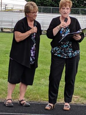 Joanne Houston and Cheryl Richardson speak during an event honoring their careers at Spaulding High School Saturday, June 19, 2021.