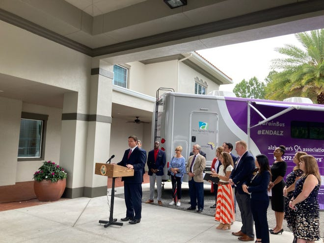Gov. Ron DeSantis touted a $12 million increase in state funding for Alzheimer's services during an appearance in Jacksonville Monday.