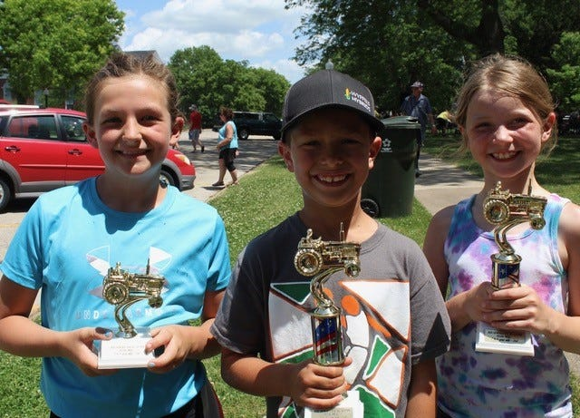 """Seven and Eight Year Old Winners""""  Third Place:  Brynn Wildemuth,   First Place:  Colton Kies,   Second Place:  Delaney Mosier"""