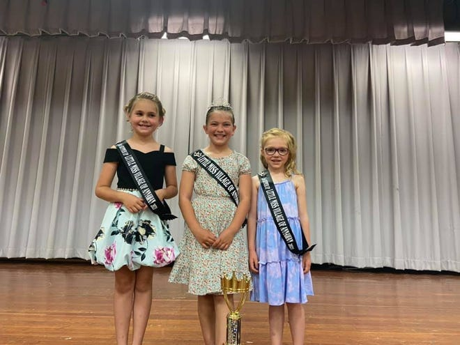 Kinley Rico, center, was crowned Little Miss Village of Annawan at the recent Annawan Fun Days weekend. Iyla Anderson, left, was named first runner-up; and Hadley DeDecker was chosen second runner-up.