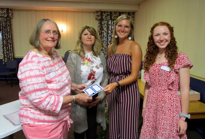 Glenna Wyffels, left, president of the Geneso Women's Club; Carol Luciani, vice president; visit with Tori Verbeck, 2019 Geneseo Music Festival Queen, and Morgan Simms, 2021 Queen Festival candidate, at the recent queen candidate salad supper. The queen pageant is sponsored by Geneseo Rotary Club and the Women's Club hosts the salad supper each year for queen candidates, their mothers or guests and members of the pageant committee.