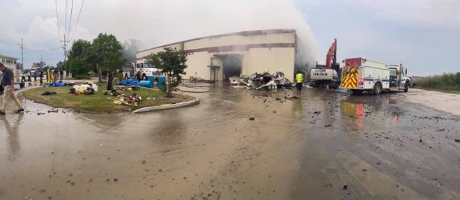 Several fire departments and agencies responded to the Hola Nola Foods facility fire.