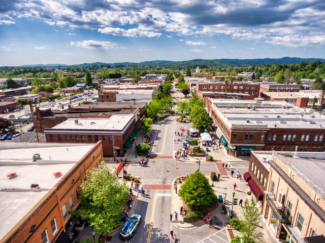 """A drone photo of Main Street in downtown Hendersonville. Downtown Merchants are preparing a party July 10, with a special themed LoveHendo Saturday """"Celebrate: The Remix."""""""