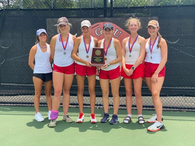 The Hendersonville girls tennis team poses with its regional plaque after capturing the championship on Saturday at Gardner-Webb University. From left to right are Ramsey Ross, Lindsay Bull, Eliza Perry, McCullough Perry, Olivia Pursley and Ava Heffner.