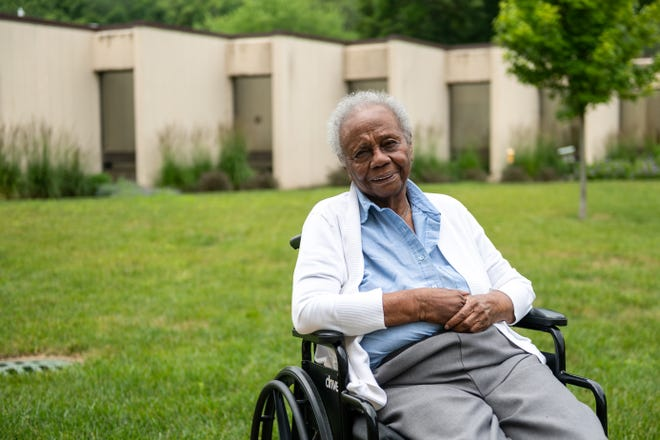Annette Smith poses for a portrait at Lutheran Hillside Village on June 21, 2021. Smith taught until she was 87 and was one of the first Black teachers in Peoria.
