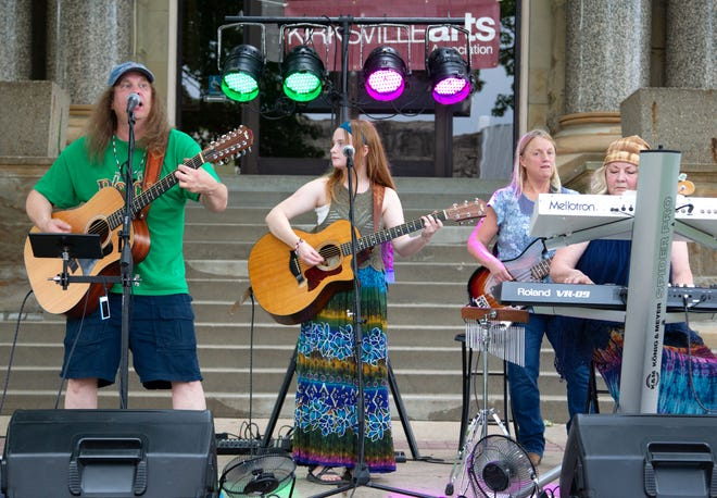 Artie's Univibe performs in front of the Adair County Courthouse on June 20 as part of the Summer on the Square concert series.