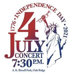 The city of Oak Ridge's Independence Day celebration at A.K. Bissell Park will include the Oak Ridge Community Band performing an outdoor concert at 7:30 p.m. and the fireworks at dark, approximately 9:45 p.m.