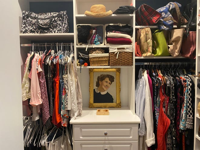 Before: Replacing an assortment of mismatched hangers with thinner ones of all one type and color can bring order and breathing space to a chaotic, crammed closet.
