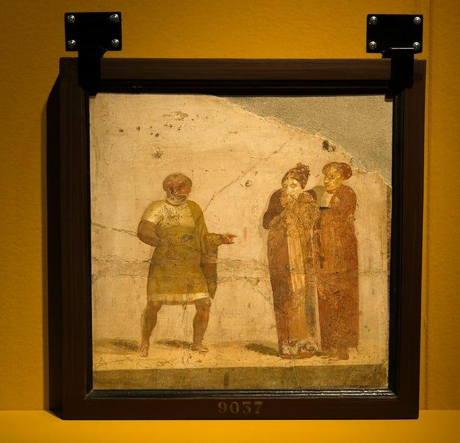 """τοιχογραφία που απεικονίζει """"Ηθοποιοί, Herculaneum"""" Εμφανίζεται """"Ζωγράφοι της Πομπηίας"""" Έκθεση στο Μουσείο Τέχνης της Οκλαχόμα Σίτι."""
