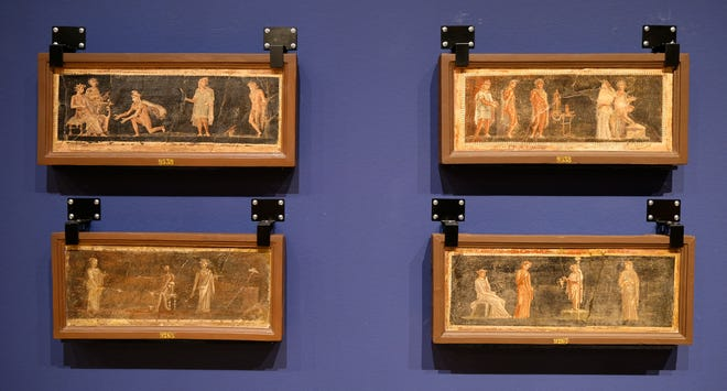 """Ένα σετ τοιχογραφιών εμφανίζεται σε μορφή """"Ζωγράφοι της Πομπηίας"""" Έκθεση στο Μουσείο Τέχνης της Οκλαχόμα Σίτι."""