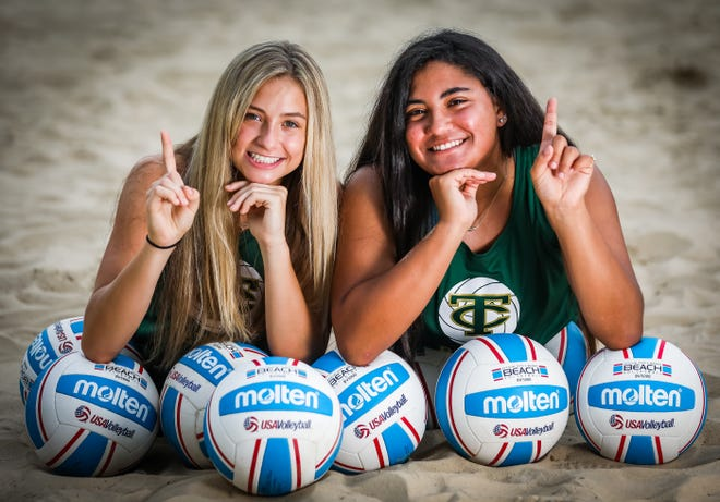 Trinity Catholic's McKenna Yates, left, a sophomore and Kiana LaBorde, a junior, are the Ocala Star-Banner Beach Volleyball Pair of the Year. The duo finished the season 15-1.