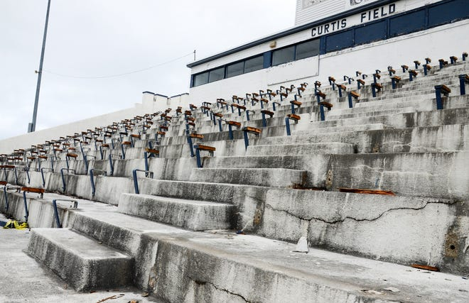 The exterior of the Curtis Field grandstand is seen on Monday, June 21.
