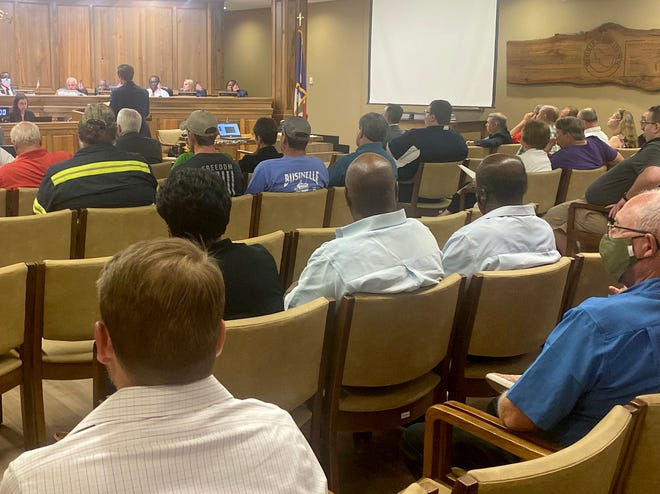 A near-capacity crowd packed the Iberville Parish Council chamber last week for a meeting on the moratorium for development in the unincorporated areas on the Eastbank.