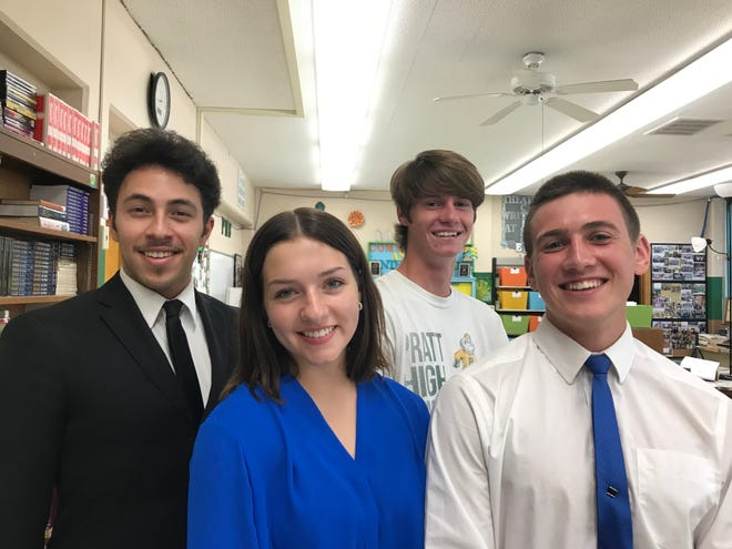 Pratt High School students, from left, Colby Barradas, Alyssa Green, Darrien Cox and Hogan Thompson put on their virtual live smiles for recent national forensics competition.