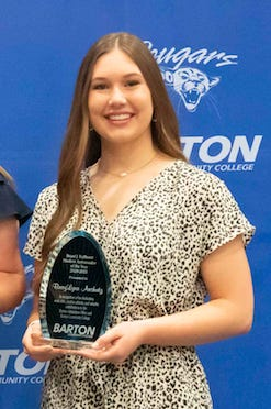 Braylynn Anshutz, of Macksville, was named a Student Ambassador of the Year in 2021 at Barton Community College.