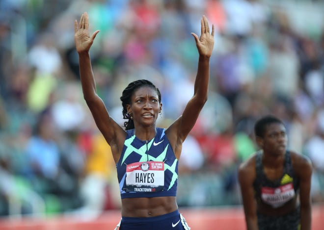 Quanera Hayes acknowledges the crowd after winning the women's 400 meters at the U.S. Olympic Track & Field Trials at Hayward Field in Eugene, Ore. Hayes attended Gray's Creek High School and then Livingstone College.