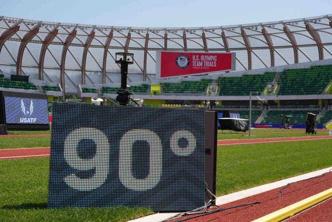 The temperature reads 90 degrees during the USA Olympic Track & Field Trials at Hayward Field on Monday.