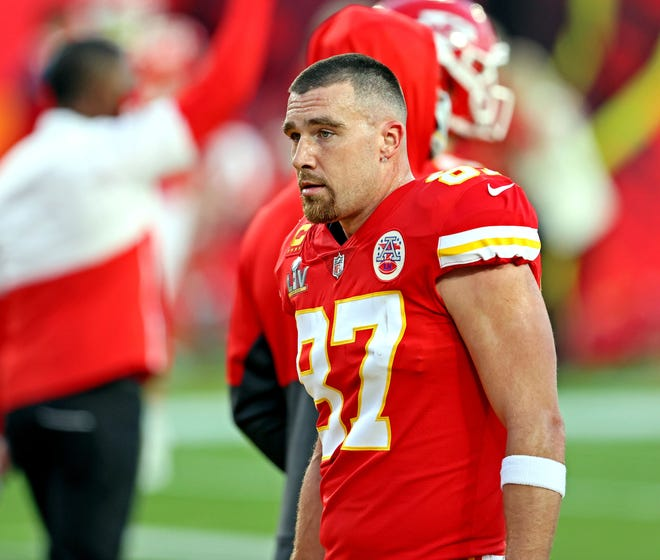Kansas City Chiefs tight end Travis Kelce (87) once was hesitant about the COVID-19 vaccine, but now has joined a campaign urging everyone to get their shots.