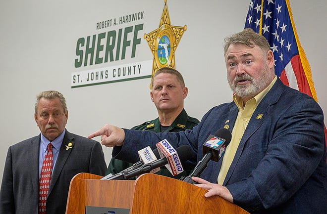 Frank Brunner, president of the Florida Association of Crime Stoppers, speaks at a press conference with 7th Judicial Circuit State Attorney R.J. Larizza, left, and St. Johns County Sheriff Rob Hardwick. He announced new technology for Crime Stoppers at the sheriff's headquarters in St. Johns County on Monday, June 21, 2021.
