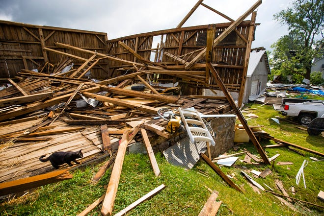 Damage to a barn from an overnight storm Monday, June 21, 2021 at a home near the intersection of Osborne and Gumwood Roads in St. Joseph County.